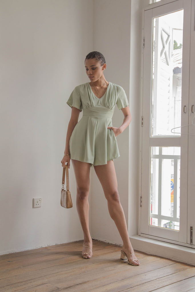 Heartthrob Romper in Pale Green