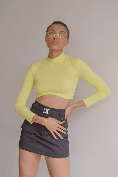 Curve Ball Top in Lemon Yellow