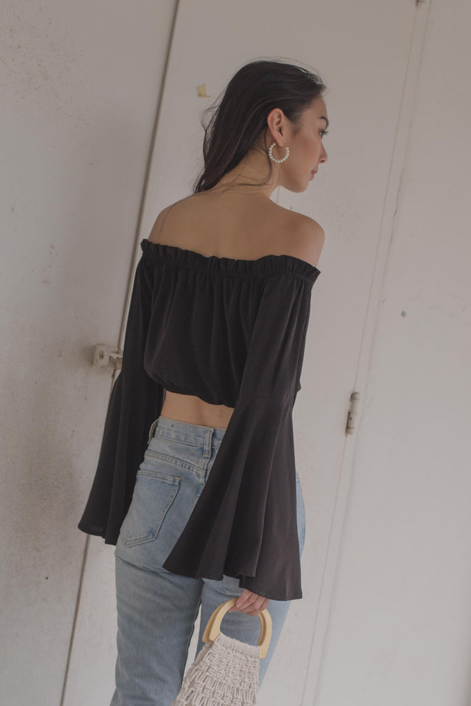 Glide Ruched Top in Black