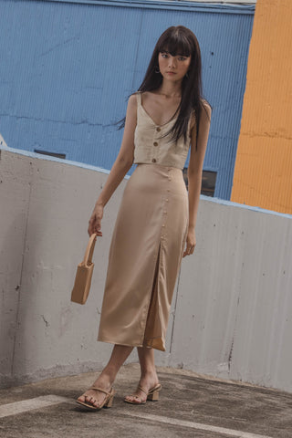 Layered Linen Midi in Nude