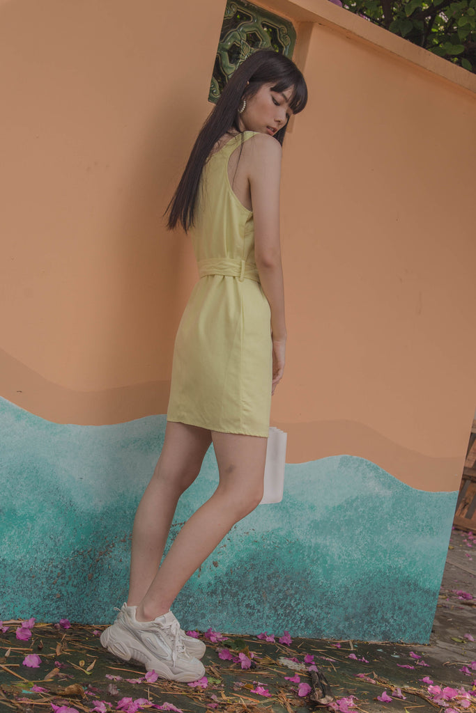 Over It Dress in Vanilla Yellow