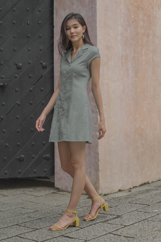 Explorer Buttons Dress in Dark Teal