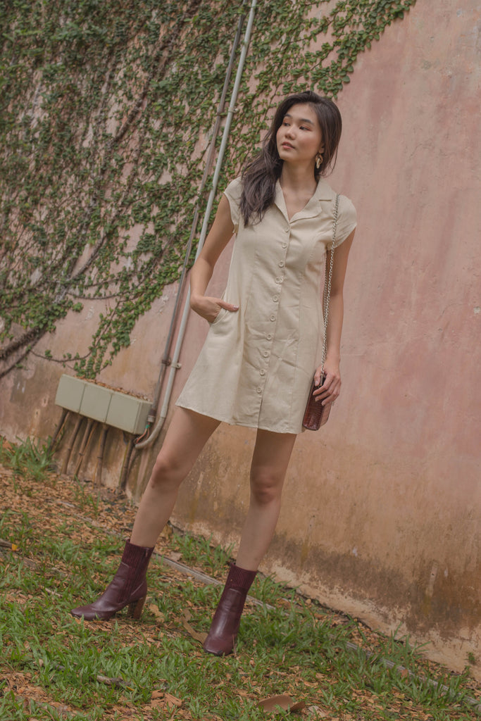 Explorer Buttons Dress in Ecru