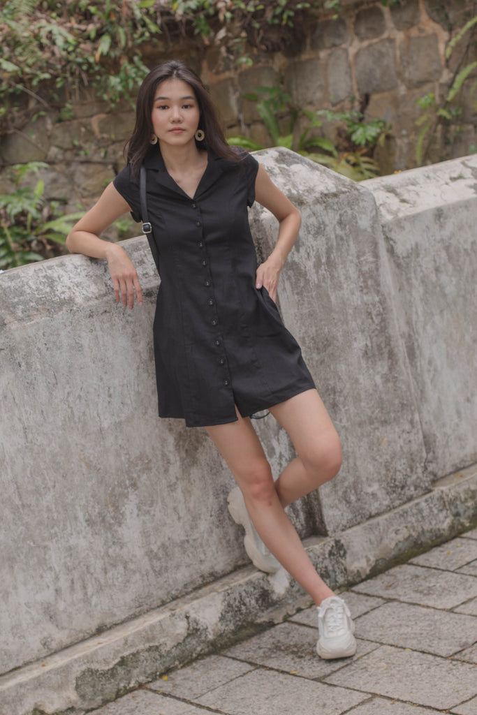 Explorer Buttons Dress in Black