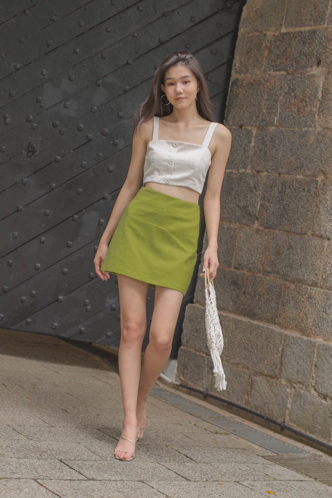 Horizontal Skirt in Kiwi Green