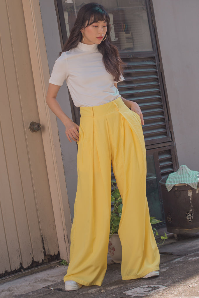 Spring Flare Pants in Cyber Yellow