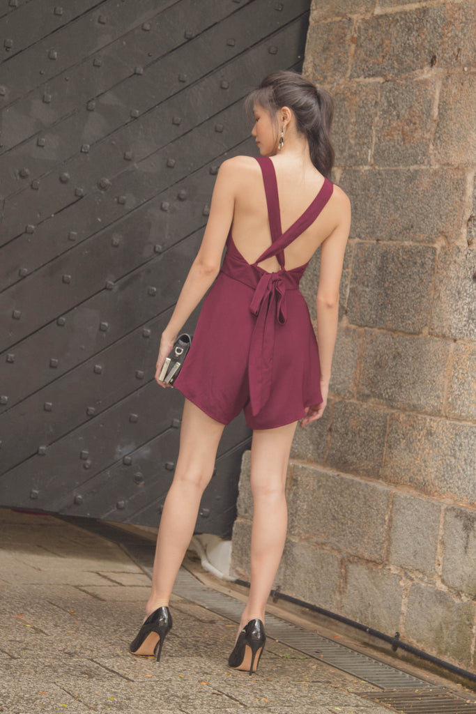 Fun and Games Romper in Burgundy