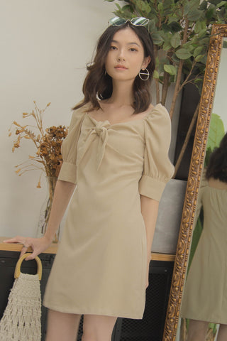 Squiggles Ruched Dress in Shun Pearl Grey