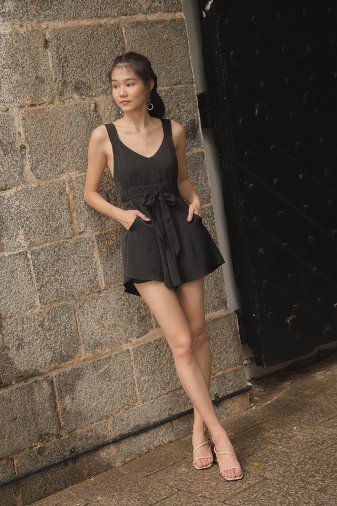 Fun and Games Romper in Black