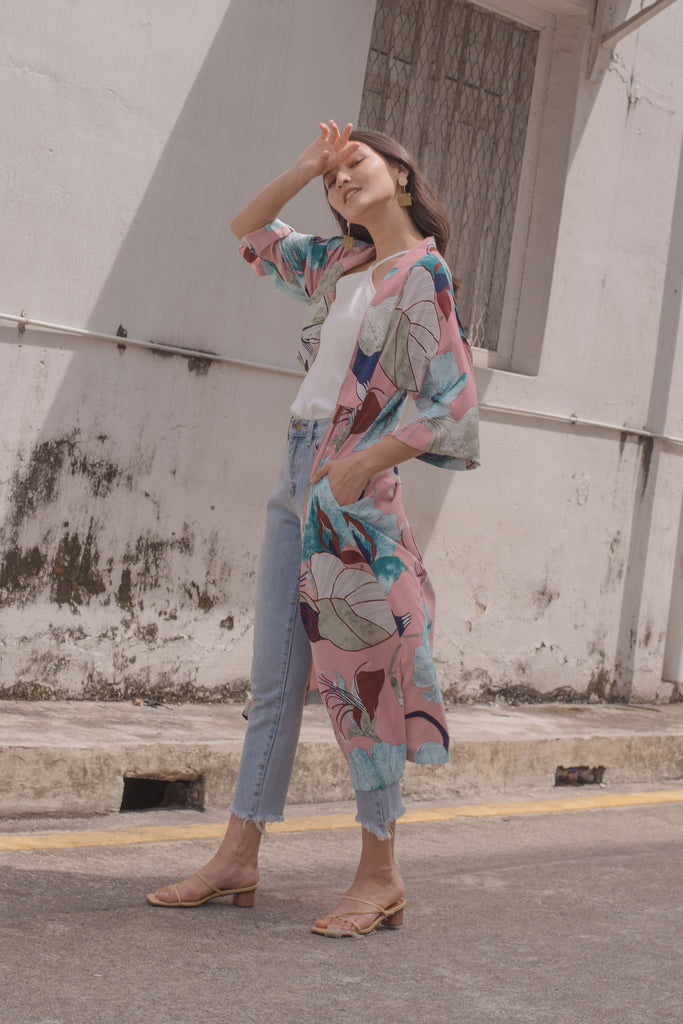 Hang Loose Kimono in Orient Pink