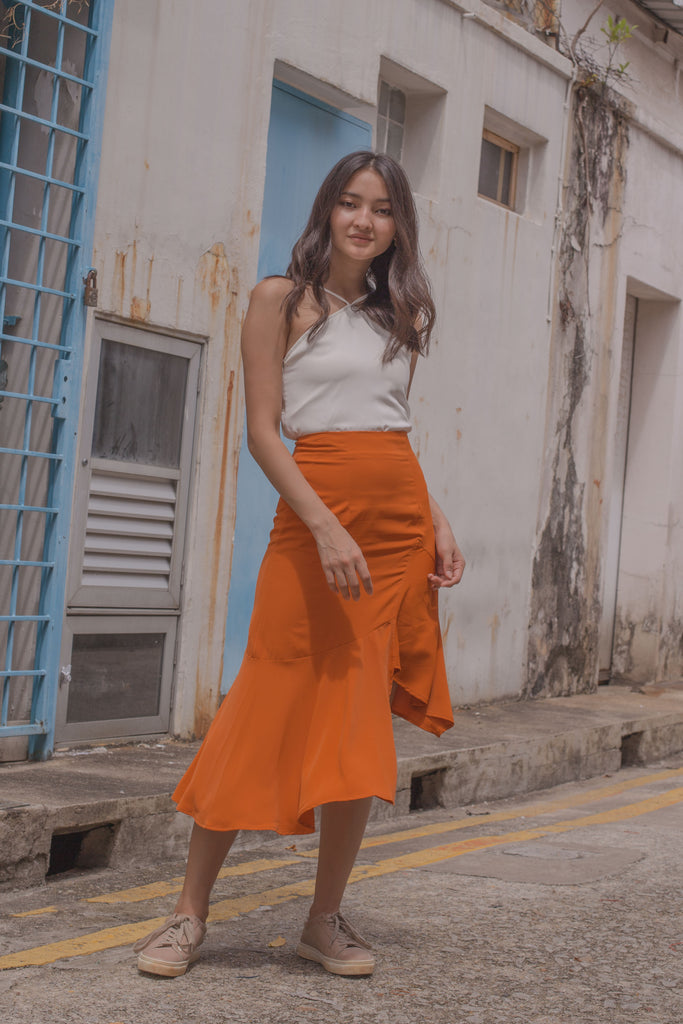 Highs And Lows Skirt in Carrot Orange