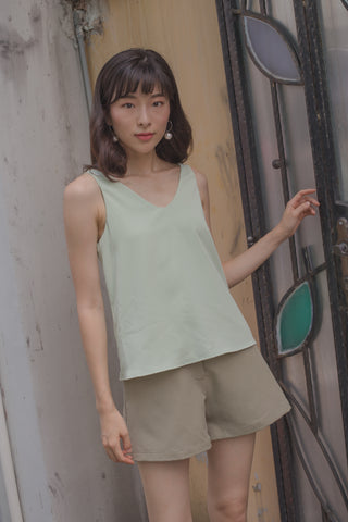 Balloon Sleeve Shirt in Sage Green