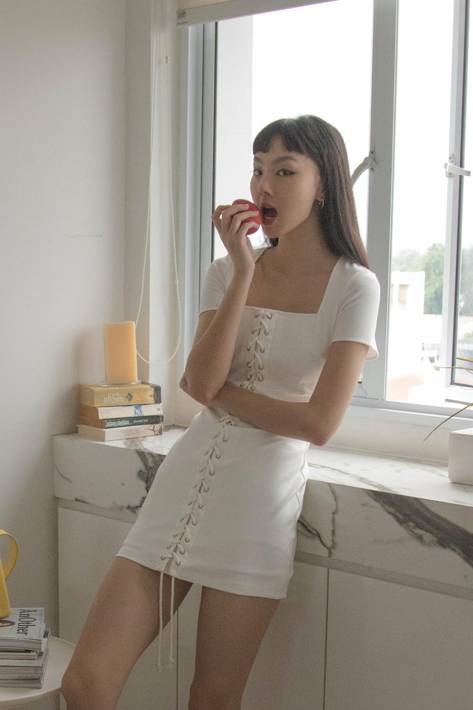 Enlaced Dress in White