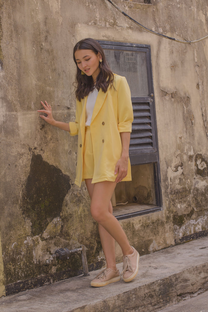 Strong Suit Blazer in Pale Yellow