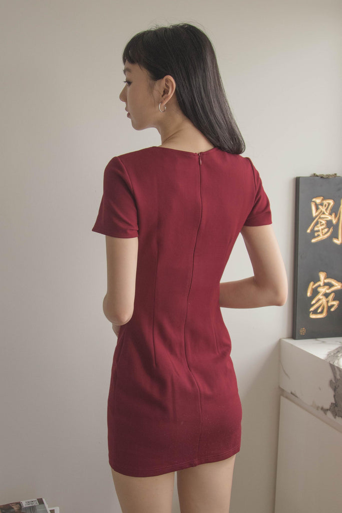 Enlaced Dress in Garnet Red