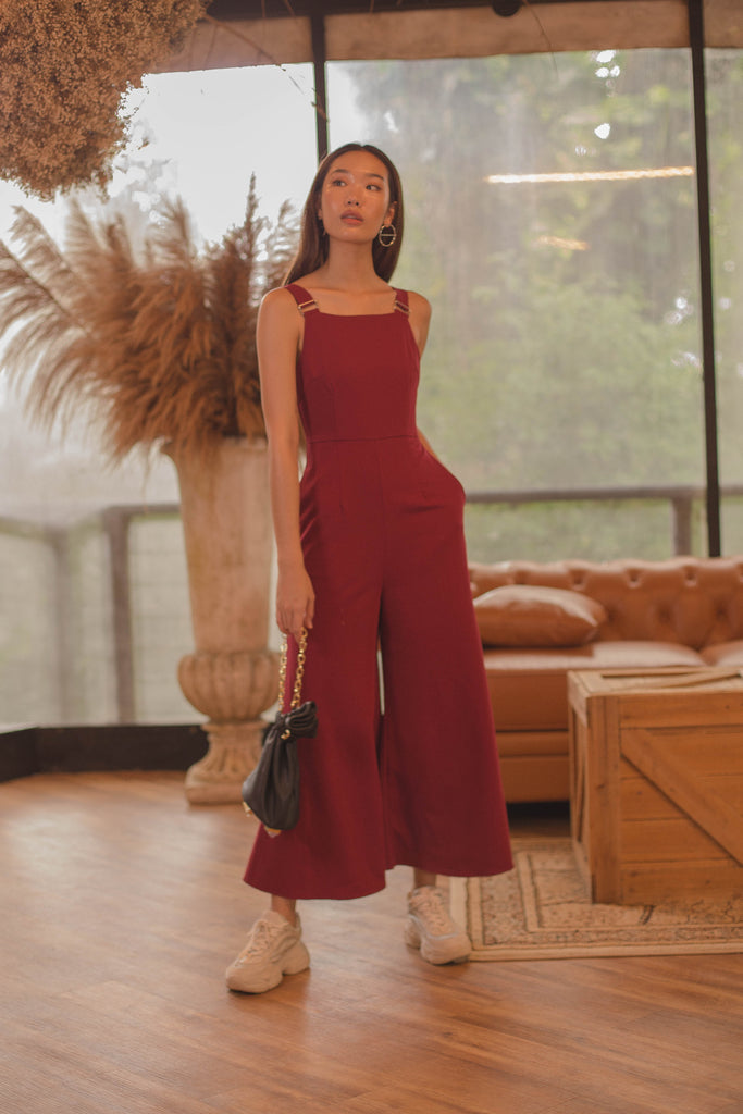 Deconstruct Buckle Jumpsuit in Chilli Red