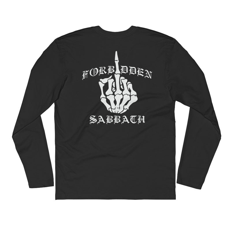 Middle Finger-Front and back-Long Sleeve Fitted Crew
