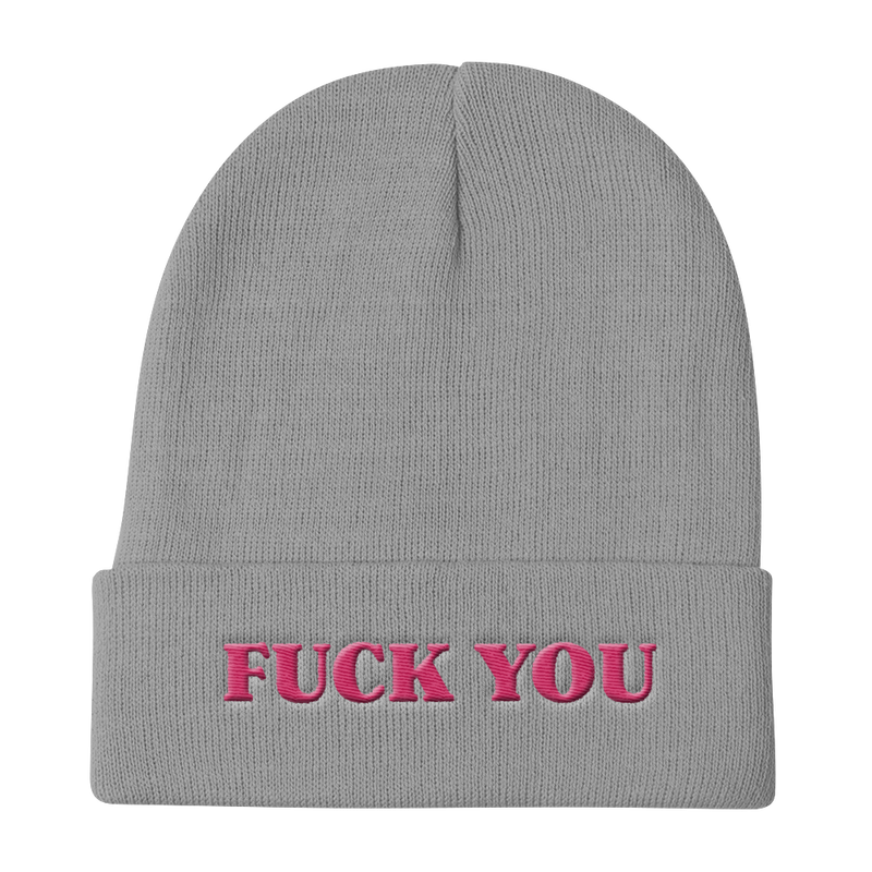 FUCK YOU-PINK ON BLACK-EMBROIDERED KNIT BEANIE