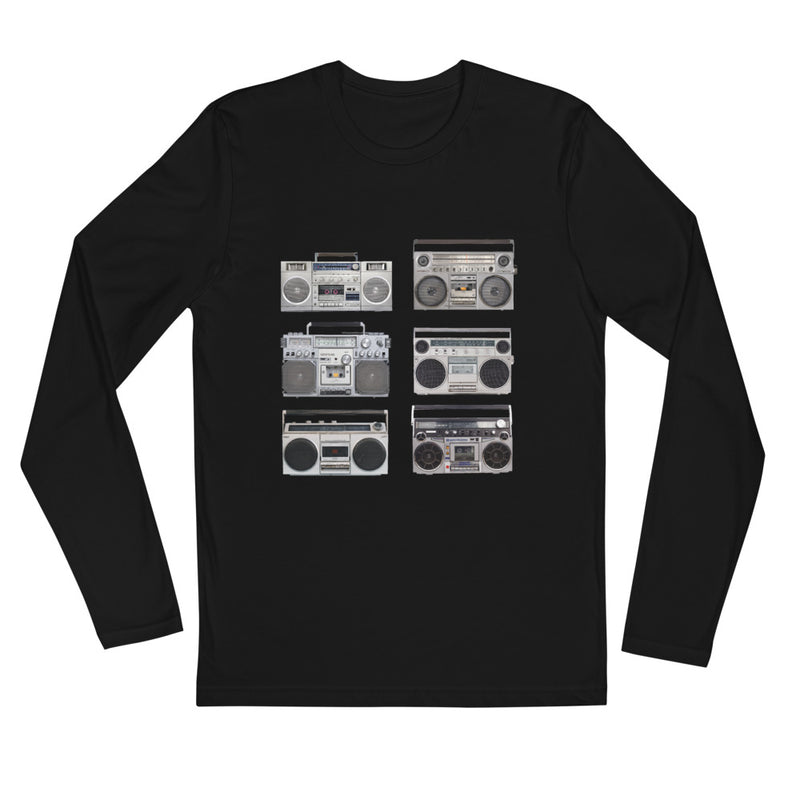 BOOM BOX, Long Sleeve Fitted Crew