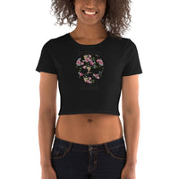 FLOWER SKULL-WOMEN'S CROP TOP