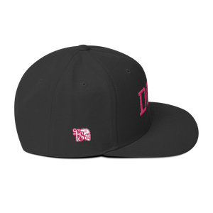 DOLL-PINK ON BLACK-WOOL BLEND SNAPBACK