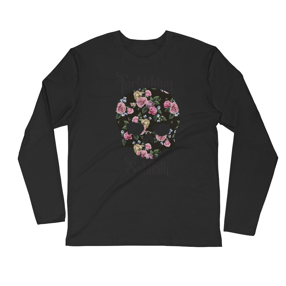 Flower Skull-Long Sleeve Fitted Crew