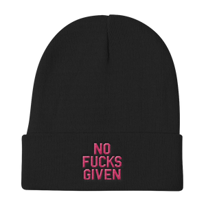 NO FUCKS GIVEN-PINK ON BLACK-EMBROIDERED KNIT BEANIE