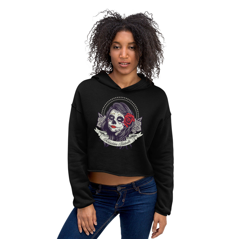 DAY OF THE DEAD-DARK ROSE-CROPPED HOODIE