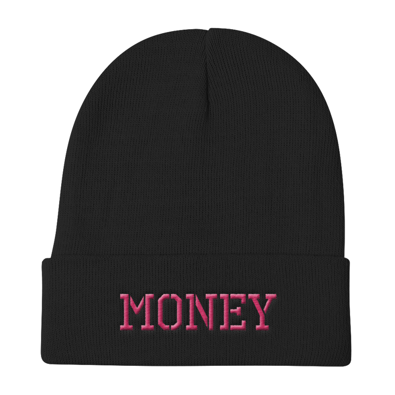 MONEY-PINK ON BLACK-EMBROIDERED KNIT BEANIE