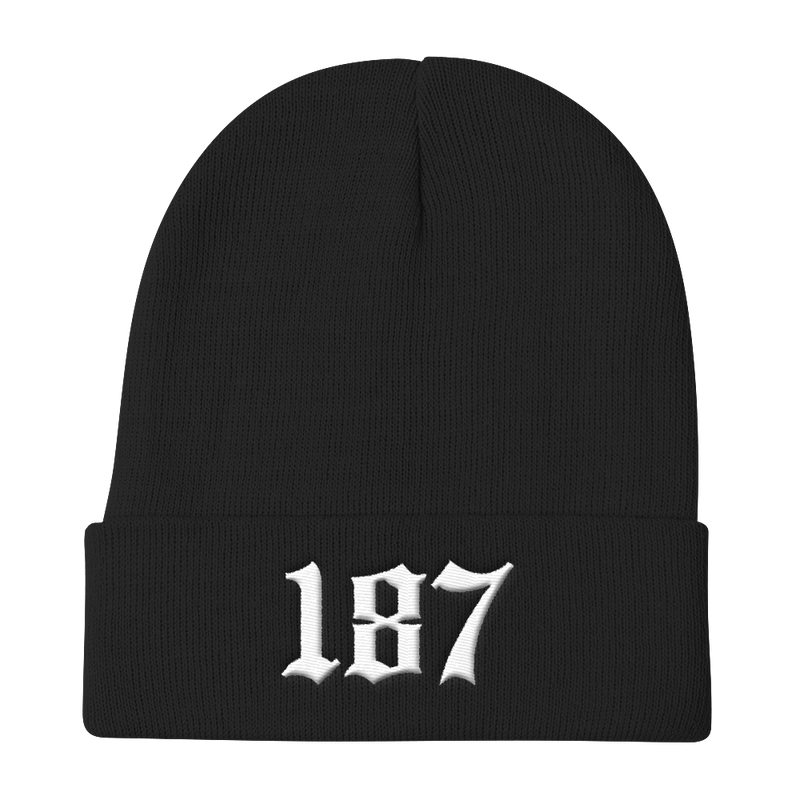 187-EMBROIDERED Knit Beanie