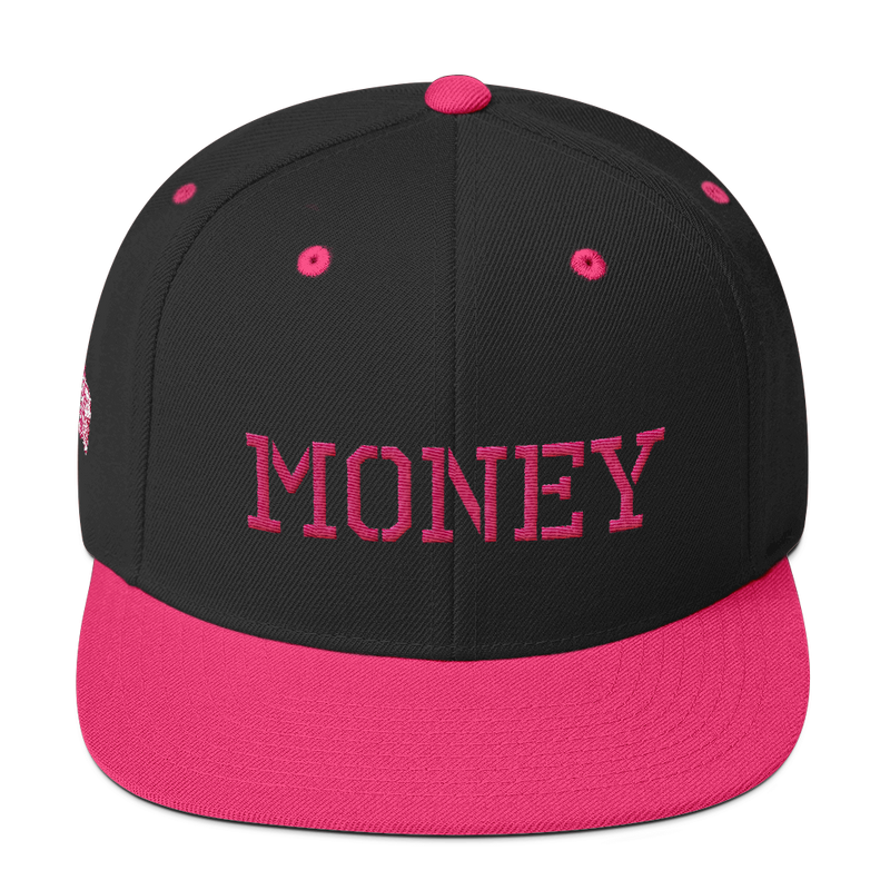 MONEY-PINK ON BLACK SNAPBACK