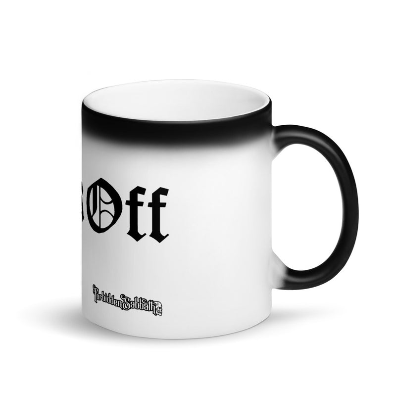 FUCK OFF-IN OLD ENGLISH-MATTE BLACK MAGIC MUG