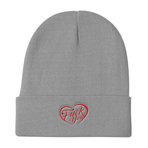 FUCK YOU HEART-EMBROIDERED KNITE BEANIE