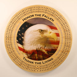 "Honor the Fallen Thank the Living Bald Eagle Cribbage Board-Cribbage Boards-11.5"" Diameter-Maple Plywood-Wooden Gift House"