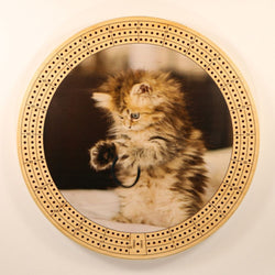 "Playful Kitten Cribbage Board-Cribbage Boards-11.5"" Diameter-Maple Plywood-Wooden Gift House"
