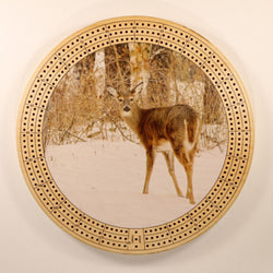 "Whitetail Doe Winter Cribbage Board-Cribbage Boards-11.5"" Diameter-Maple Plywood-Wooden Gift House"