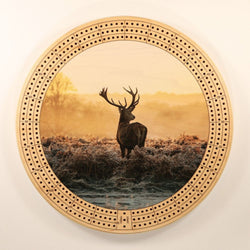 "Buck Sunrise Cribbage Board-Cribbage Boards-11.5"" Diameter-Maple Plywood-Wooden Gift House"