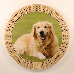 "Golden Retriever Cribbage Board-Cribbage Boards-11.5"" Diameter-Maple Plywood-Wooden Gift House"