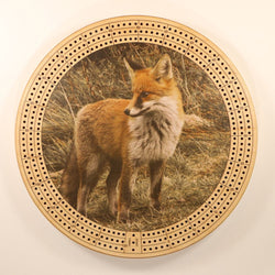"Summer Fox Cribbage Board-Cribbage Boards-11.5"" Diameter-Maple Plywood-Wooden Gift House"