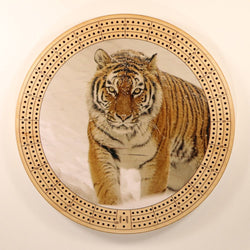 "Tiger Snow Cribbage Board-Cribbage Boards-11.5"" Diameter-Maple Plywood-Wooden Gift House"