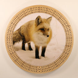 "Winter Fox Cribbage Board-Cribbage Boards-11.5"" Diameter-Maple Plywood-Wooden Gift House"
