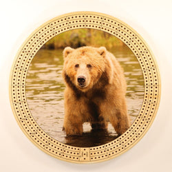 "Bear In River Cribbage Board-Cribbage Boards-11.5"" Diameter-Maple Plywood-Wooden Gift House"