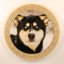 "Husky Eyes Cribbage Board-Cribbage Boards-11.5"" Diameter-Maple Plywood-Wooden Gift House"