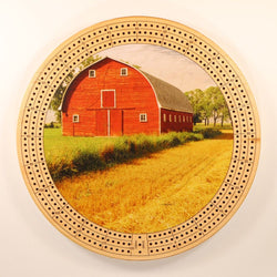 "Farm Landscape 1 Cribbage Board-Cribbage Boards-11.5"" Diameter-Maple Plywood-Wooden Gift House"