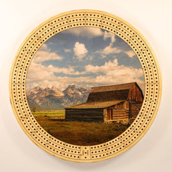 "Farm Landscape 2 Cribbage Board-Cribbage Boards-11.5"" Diameter-Maple Plywood-Wooden Gift House"