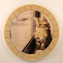"Window Kitten Cribbage Board-Cribbage Boards-11.5"" Diameter-Maple Plywood-Wooden Gift House"