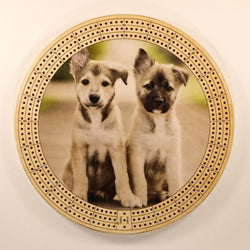 "Puppy Duo Cribbage Board-Cribbage Boards-11.5"" Diameter-Maple Plywood-Wooden Gift House"