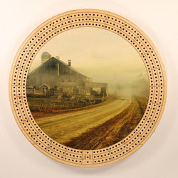 "Farm Landscape Fog Cribbage Board-Cribbage Boards-11.5"" Diameter-Maple Plywood-Wooden Gift House"