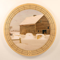 "Farm Landscape Winter Cribbage Board-Cribbage Boards-11.5"" Diameter-Maple Plywood-Wooden Gift House"