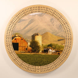 "Farm Landscape Mountains Cribbage Board-Cribbage Boards-11.5"" Diameter-Maple Plywood-Wooden Gift House"